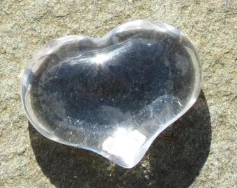 Clear Quartz/Rock Crystal Puffy Heart Healing Worry Stone for Focus, Happiness, Insomnia, Calm, Meditation, Intuition and Memory!