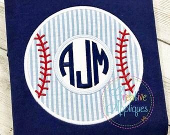 Baseball Monogram Applique Digital Machine Embroidery Design 4 Sizes
