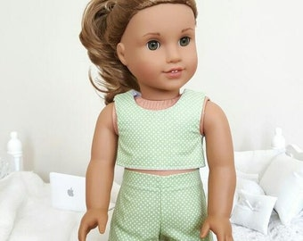 18 inch doll green shorts and crop top