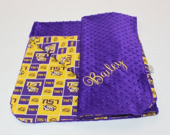 LSU Baby Blanket, Purple and Gold Baby Blanket