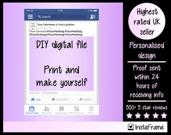 DIGITAL FILE- Personalised Facebook style photobooth prop frame! Perfect for Weddings, Birthdays, Business Exhibitions and any other event