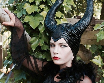 Maleficent inspired  Headdress   ~  Maleficent Horns Custom Costume  ~ CosPlay ~ Black Festival Dance Photo Shoot Movie