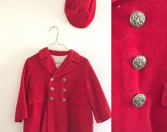 Vintage Red Corduroy Children's Coat with Newsboy Cap