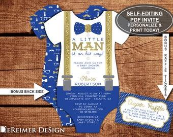 Little Man Baby Shower Invitation, Onesie Invitation, Bow Tie, Suspenders, Royal  Blue