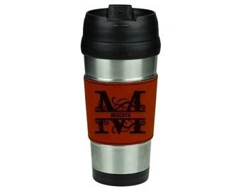 16 oz. Travel Mug with Personalized Rawhide Sleeve