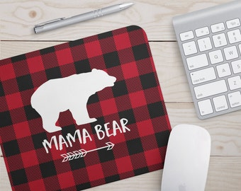 Mama Bear Mousepad - Buffalo Plaid Mouse Pad