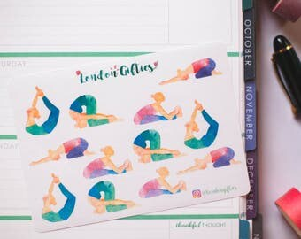 Yoga poses - decorative watercolour planner stickers suitable for any planner -342-