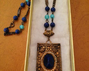 Vintage Brass Necklace and Pendant