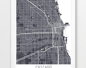 Chicago City Urban Map Poster, Chicago City Street Print, Grey Chicago Illinois, Travel Poster, Modern Art, Home Office Decor, Printable Art