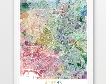 Athens City Urban Map Poster, Athens Street Map Print, Athens Greece Watercolor Map, Modern Art, Home Decor, Travel Poster Map Printable Art