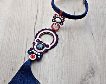 SALE 20% - Statement soutache necklace