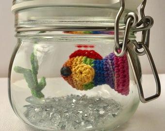 No Fuss Rainbow Fish - amigurumi crochet goldfish in a glass jar