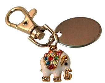 Multicoloured diamante elephant keyring, custom engraved personalised in black velvet gift pouch PL399
