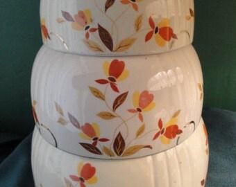 Vintage Set Of 3 Hall Superior Autumn Leaf Jewel Tea Nesting/Mixing Bowls.