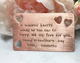 Valentines Copper Wallet Card Heart Cut out, 7 year anniversary gift, Custom Wallet card, Fathers Day Gift, Wallet card for him