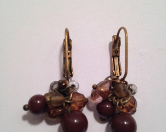 Dangle Lucite Brown Amber Pierced Earrings Mid Century
