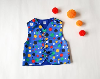 Circus Clown Vest |  Carnival Fasching Clown | Colourful Harlequin Vest | Mardi Gras | Circus Party | Jester Kids Costume