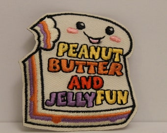 PB&J Patch (1) - peanut butter and jelly kawaii lunch sandwich smiling smiles