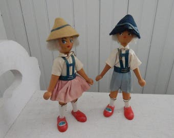 Kay Bojensen Style Wooden Polish Pair of Dolls - Original Costume - Wool Yarn Hair - Dressed in Authentic Polish Costumes - Little Girl Gift
