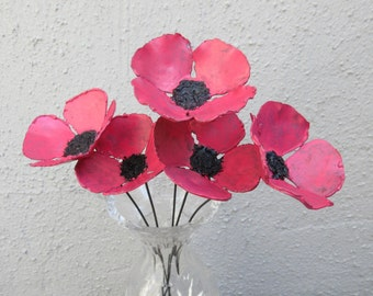 Bouquet of Red Poppy Flowers -- Poppies, Metal Flowers, Bouquet, Flowers,  Metal Sculpture, Shabby Chic