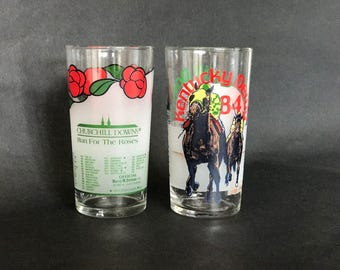 KENTUCKY DERBY GLASSES, Pair of Glasses, Vintage Glasses, Official Glasses, Collectible Glasses, Mint Julep Tumblers, 1984,1986,Libbey Glass
