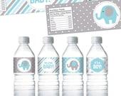 Blue Elephant Water Bottle Labels. Boy Baby Shower Bottle Labels. Printable Wrappers. DIY Wraps. Blue and Grey Elephant Baby Shower Labels
