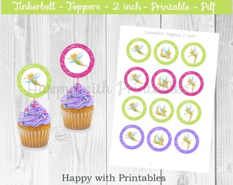 Tinkerbell cupcake Toppers - Tinkerbell cake toppers - Tinkerbell party - Tinkerbell birthday printable - Tinkerbell 2 inch topper - Tinker