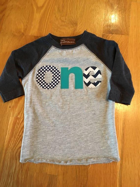 One birthday raglan shirt navy, teal, 1st birthday shirt, boys first birthday shirt, First birthay boy raglan