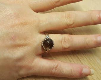 Brown Smoky Quartz ring. 925 sterling silver. Reiki jewelry. Women's Adjustable ring uk. 10mm stone