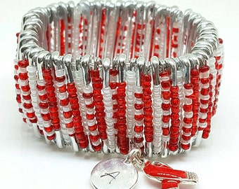 Personalized AIDS & MADD Awareness Safety Pin Bracelet w/Red Ribbon Charm (R2). Safety Pin Jewelry.  Beaded Jewelry. Beaded Bracelet.