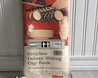 Grayline Deluxe Sliding Cup Rack, Space Saver, Cabinet Mount Cup Holder, Mug Rack, Mug Holder, Vintage Kitchen, New Old Stock, NOS