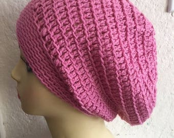Slowchy Crocheted Boho Pink Hat