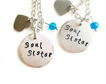 Soul Sister Necklace Set, 2 Best Friends, Love Necklace, Siblings Jewelry, Couples Necklace, Customized Pendant, Soulmate Necklace, BFF Set
