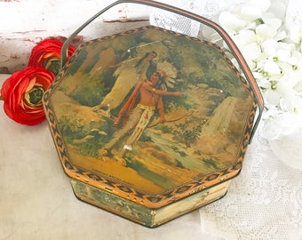 Antique Hiawatha Native American Indian Tin Litho Basket Box Pail, Vintage Advertising Loose Wiles Sunshine Biscuits, Octagon storage