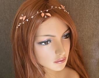 Rose gold headpiece, rose gold headband, rose gold hair piece, leaf headpiece, leaf hair piece, leaf headband, pearl headpiece