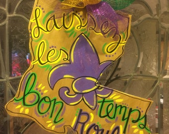 Wooden Louisiana Mardi Gras door hanger