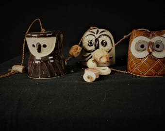 70s Owl Ceramic Hanging Mobile / Vng MCM 70s Artisan Ceramic Wind Chimes / Glazed Ceramic Pottery Owl Wall Hanging / 60s Hippie Wind Chimes