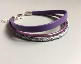 Purple Multi Strand Leather Bracelet - Purple Stackable Braided Leather - Urban Bohemian Leather Bracelet - Gift for Her -