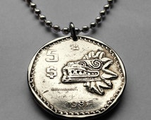 1980 or 1981 Mexico 5 pesos coin pendant Mexican Quetzalcoatl feathered serpent pyramid sculpture necklace Aztec statue golden eagle n001629