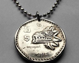 1980s Mexico 5 pesos coin pendant Mexican Quetzalcoatl feathered serpent pyramid sculpture necklace Aztec statue golden eagle n001629