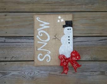 Snow Christmas Sign, Christmas Decor, Snow Burlap Sign, Winter Decor, Snowman Sign, Snowman Decor, Rustic Christmas Decor, Winter Sign