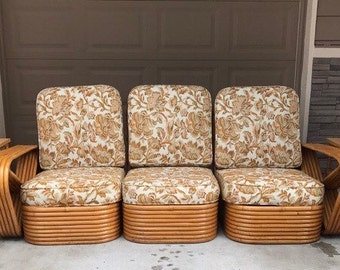 Sold*Do Not Buy*5 Piece Set Of Mid Century Paul Frankl Rattan Furniture
