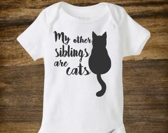 Cat baby onesie, funny onesie, my other siblings have fur
