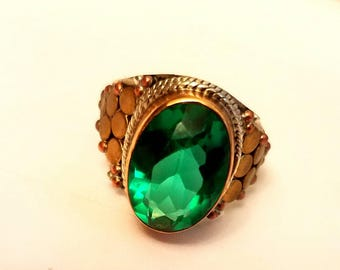 Apatite .925 sterling gold ring size 7