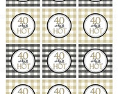 40 and Still HOT, Printable 40th birthday Gold and Black, Printable Buffalo Check Cupcake toppers and Gift tags by SUNSHINETULIPDESIGN