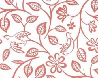 Lovebirds Coral by Covington Fabric