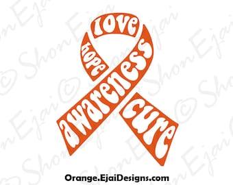 Kidney Cancer, Leukemia Svg, Multiple Sclerosis, Rsd, Adhd, Crps, Orange, Cancer Svg, Cancer Ribbon Svg, Awareness Ribbon Svg