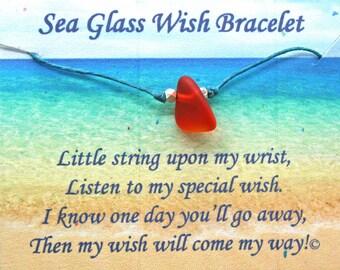 Sea Glass Wish Bracelet, Beach Glass Bracelet, Wish Bracelet, String Bracelet, Lucky, Make a Wish, Friendship Bracelet,