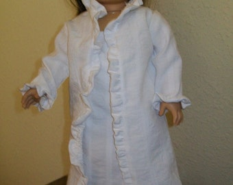 Ruffled Robe and Warm Weather Nightgown for the American Girl, 18 and 16 Inch Dolls