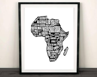 Map of Africa Africa Map Printable Africa Map Instant Download Africa & Africa Art Print Africa Print Africa Map Art Africa Wall